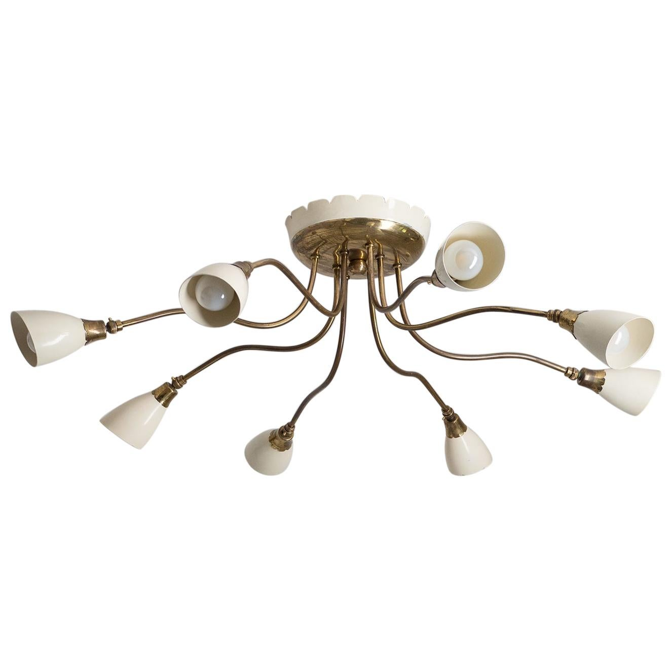 Italian Ceiling Light, circa 1950, Brass and Ivory Lacquer