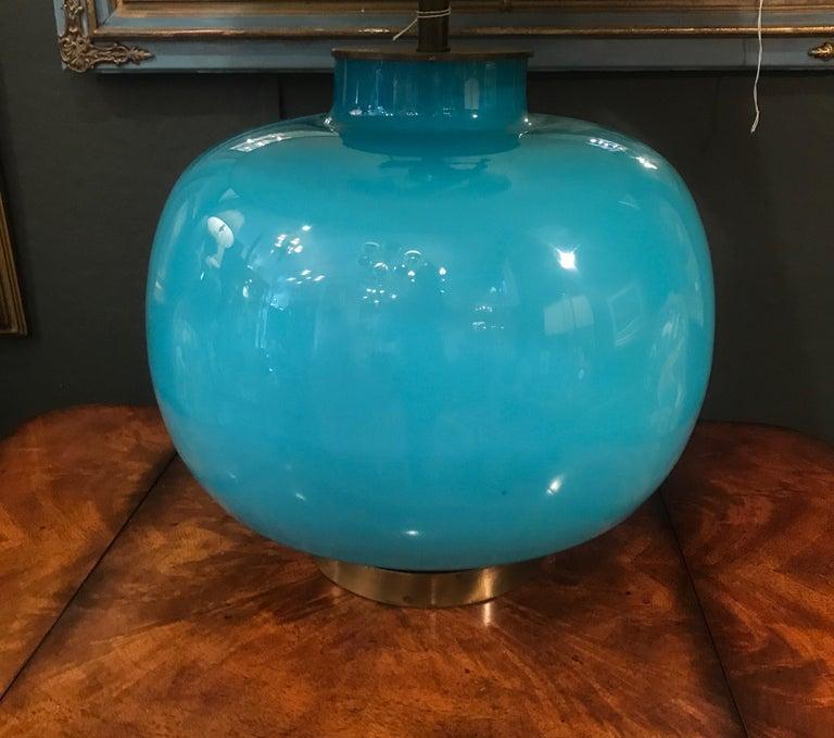 Mid-Century Modern Italian Celeste Blue Murano Glass Lamp For Sale