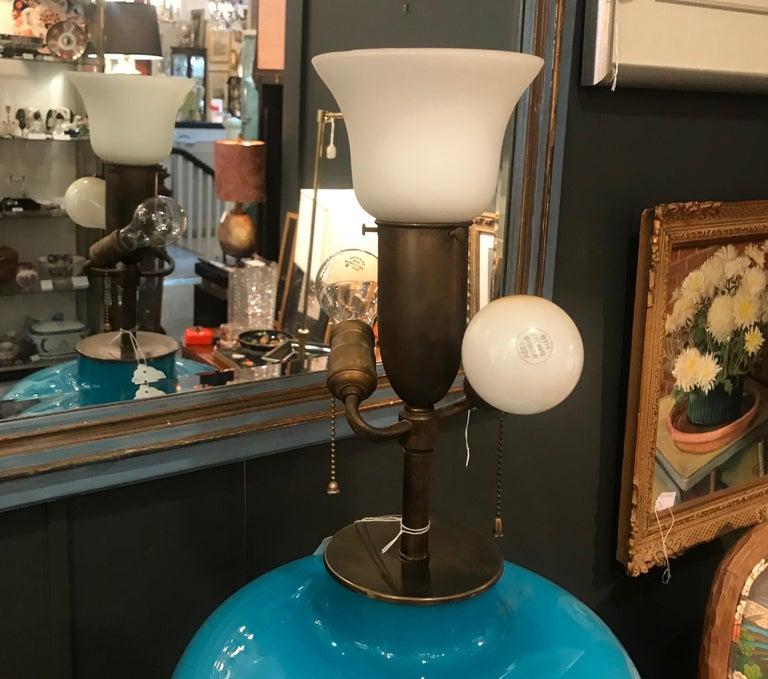 Italian Celeste Blue Murano Glass Lamp In Good Condition For Sale In Lambertville, NJ
