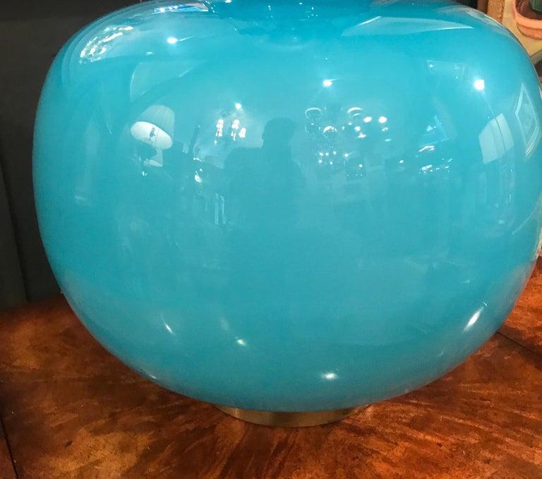 Mid-20th Century Italian Celeste Blue Murano Glass Lamp For Sale