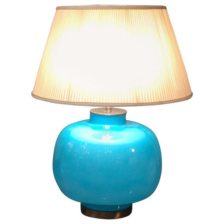 Italian Celeste Blue Murano Glass Lamp For Sale