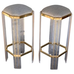 Italian Century Modern Chrome, Lucite and Glass Signed Bar Stools
