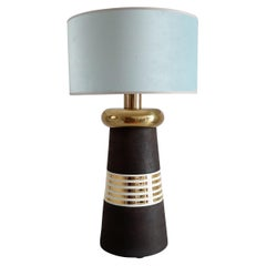 Italian Ceramic and Brass Table Lamp in Lighthouse Shape with Velvet Lampshade