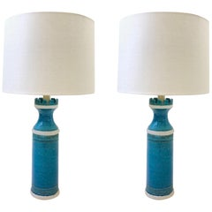 Italian Ceramic and Brass Table Lamps by Aldo Londi for Bitossi