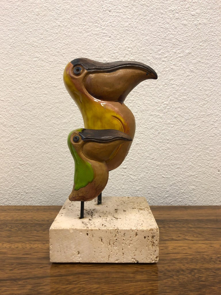 Italian Ceramic and Travertine Pelicans by Gil Etruschi for Raymor 1