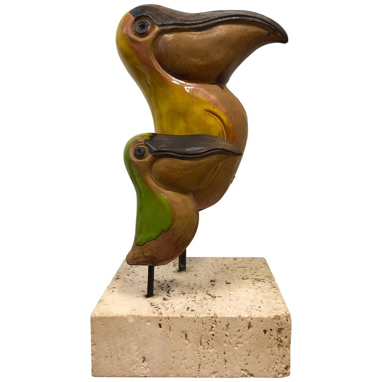 Italian Ceramic and Travertine Pelicans by Gil Etruschi for Raymor