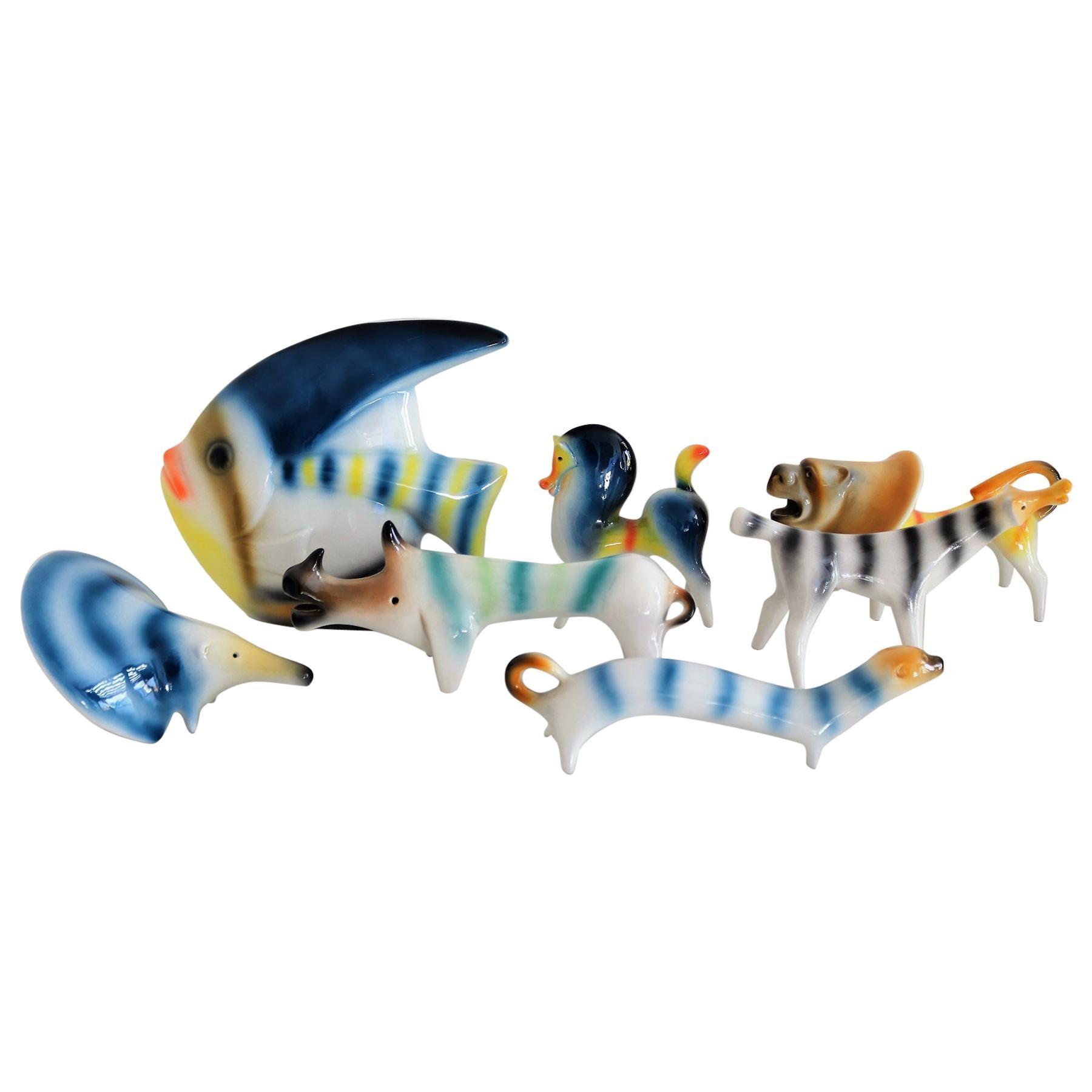 Italian Ceramic Animal Collector Selection by Roberto Rigon, 1970s
