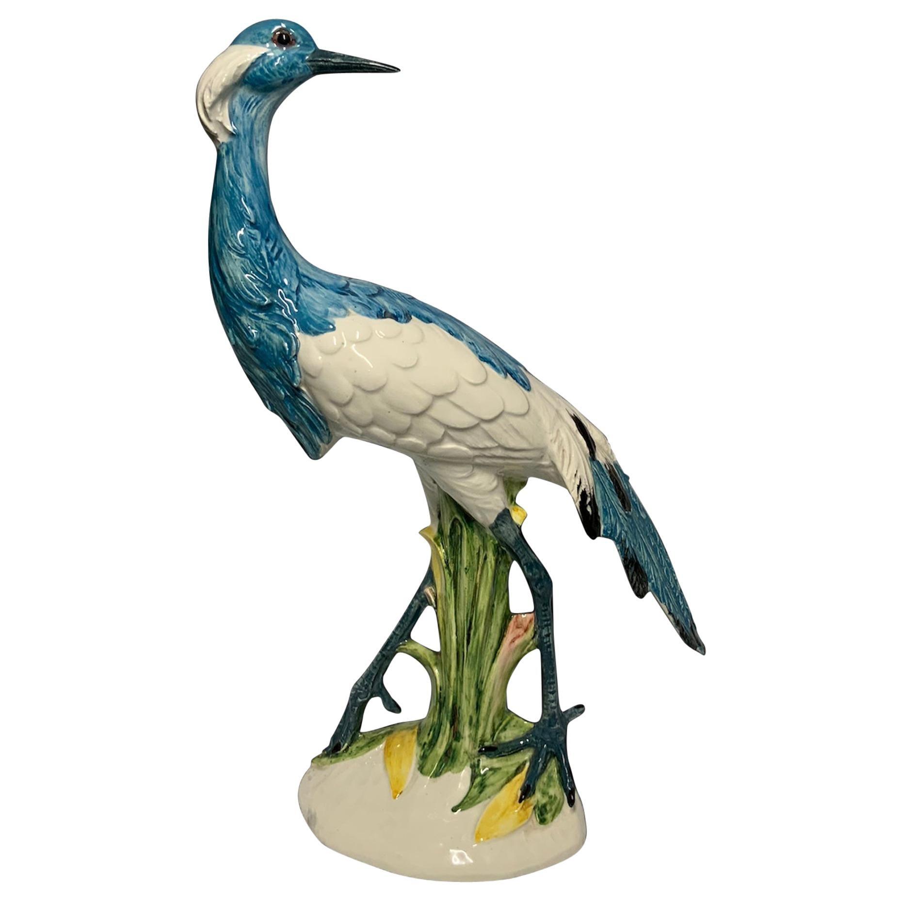 Italian Ceramic Blue Crane Sculpture