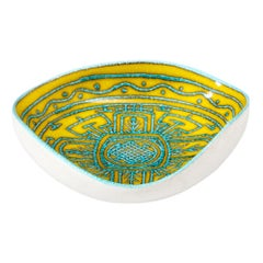Italian Ceramic Bowl, Abstract, Yellow, Blue, and White, Primitive, Signed