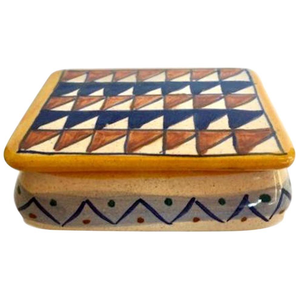 Italian Ceramic Box with Triangle Motif