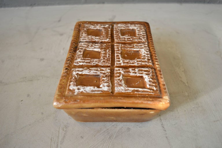 Italian Ceramic Brown Box In Excellent Condition For Sale In Los Angeles, CA