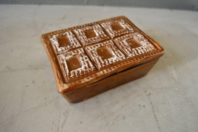 Late 20th Century Italian Ceramic Brown Box For Sale