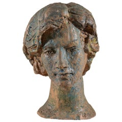 Italian Ceramic Bust by Angelo Grilli