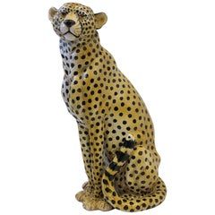 Italian Ceramic Cheetah Sculpture