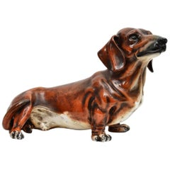 Italian Ceramic Dachshund Dog by Ugo Zaccagnini in Life-Size, 1960s