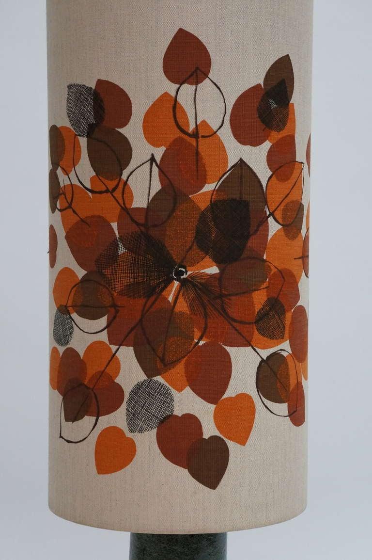 Hollywood Regency Italian Ceramic Floor Lamp with Flowers For Sale
