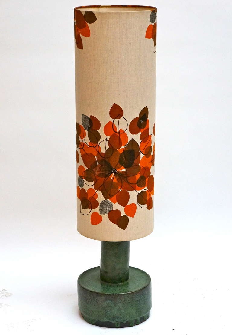 Italian Ceramic Floor Lamp with Flowers In Good Condition For Sale In Antwerp, BE