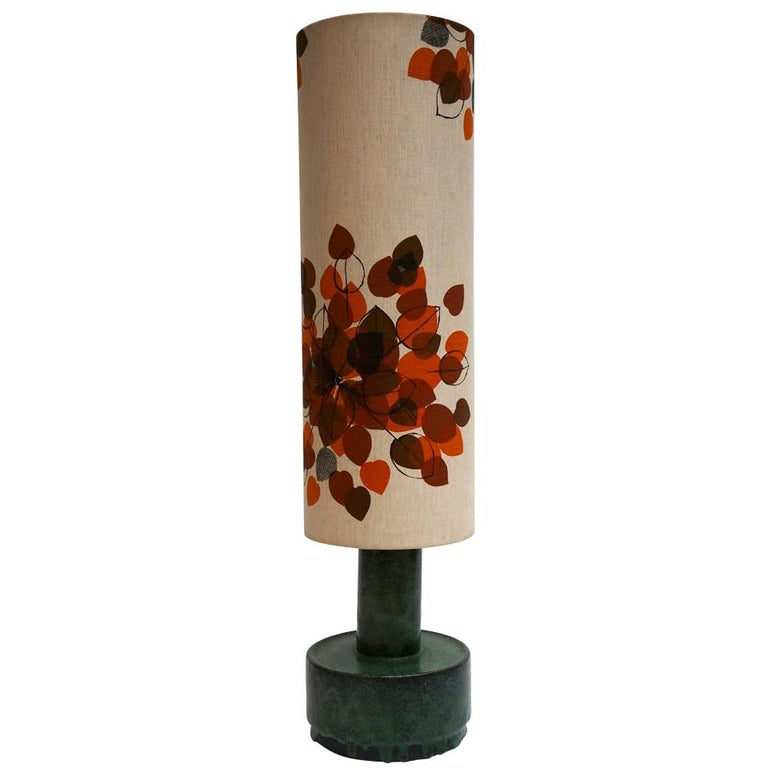 Italian Ceramic Floor Lamp with Flowers For Sale