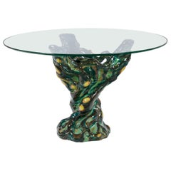 Italian Ceramic Glass Top Occasional Table