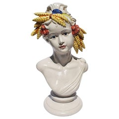 Italian Ceramic Hand Painted Bust of a Woman with Wheat and Tassel Crown
