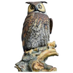 Italian Ceramic Hand Painted Oversized Owl Figure by V. Bindi