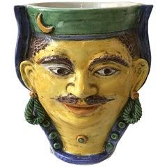 Italian Ceramic Head Vase of Moroccan Man