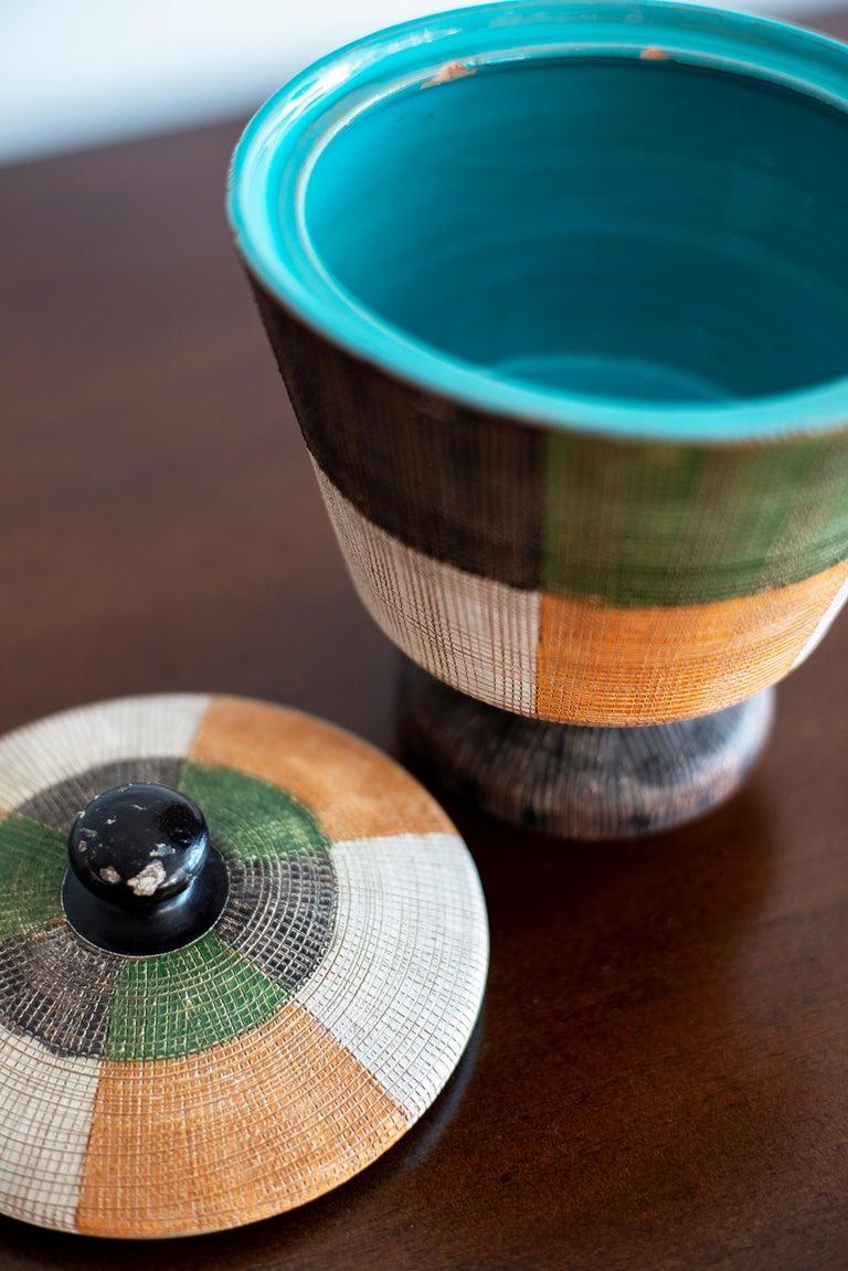 Gorgeous color palette ceramic Bitossi jar  Signed on the bottom.