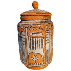 Italian Ceramic Jar with Lid 'Unsigned' Believed to be Guido Gambone