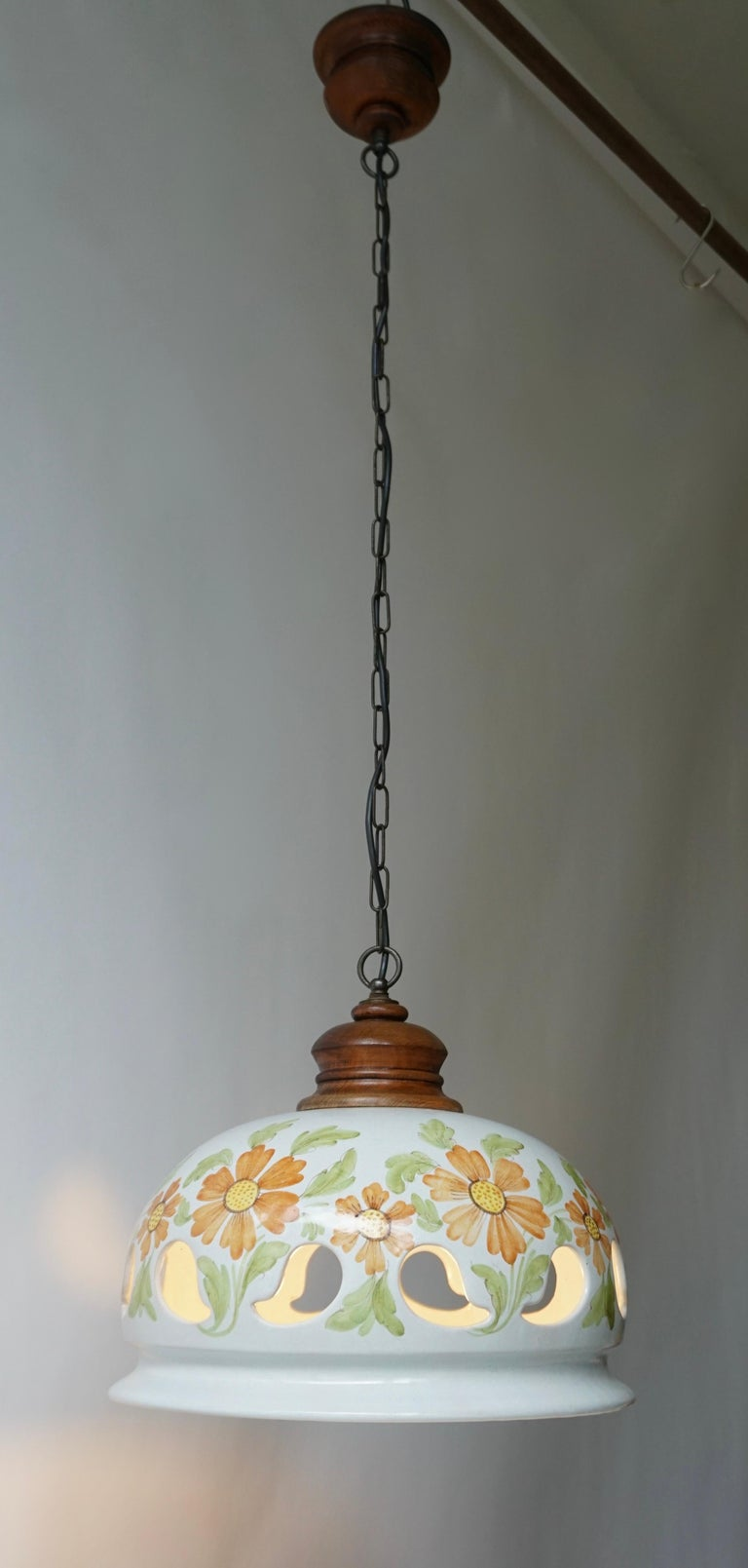 Hand-Painted Italian Ceramic Lamp with Flower Decoration, 1970s For Sale