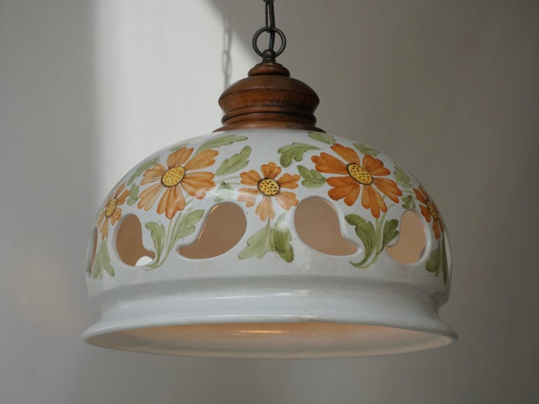 20th Century Italian Ceramic Lamp with Flower Decoration, 1970s For Sale