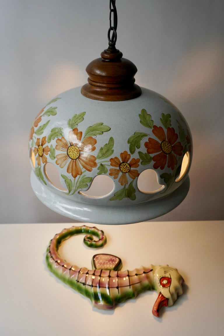 Brass Italian Ceramic Lamp with Flower Decoration, 1970s For Sale