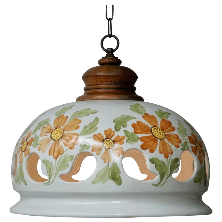 Italian Ceramic Lamp with Flower Decoration, 1970s For Sale