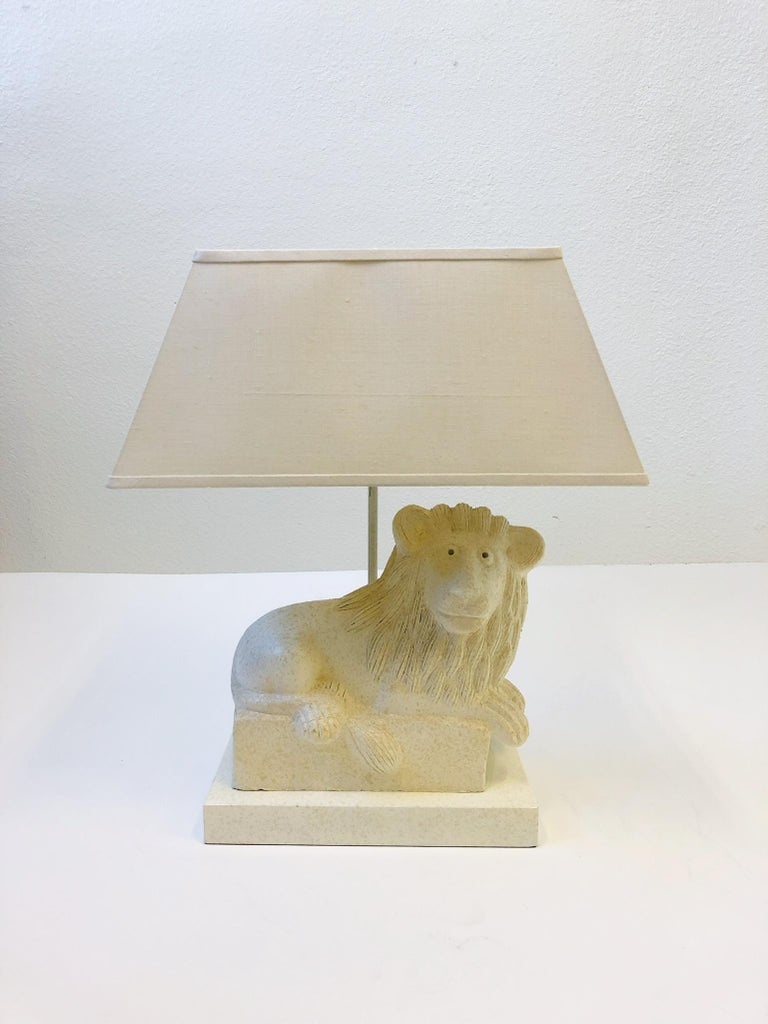 A spectacular custom lacquered finish Italian ceramic Lion table lamp by Steve Chase. The Italian ceramic lion is by Bitossi. This lamp was custom order by Steve Chase for a project in Rancho Mirrage. The shade is the original vanilla linen shade so