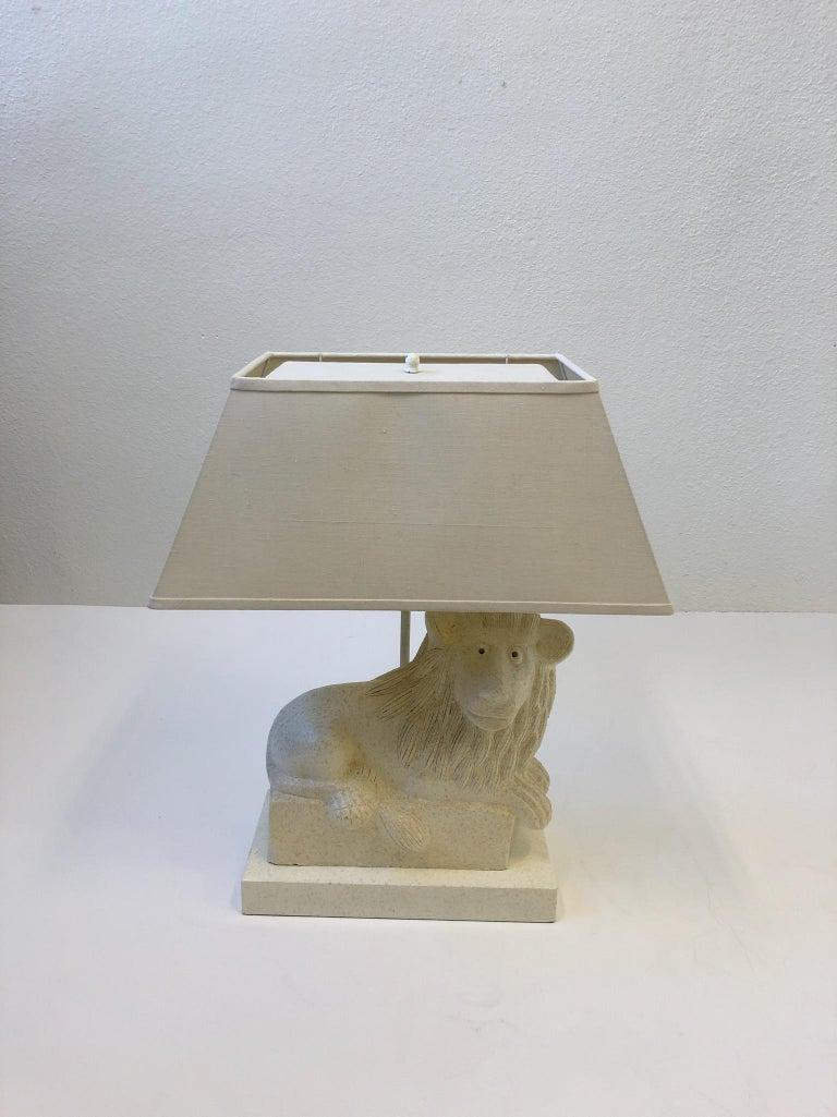 Modern Italian Ceramic Lion Table Lamp by Steve Chase For Sale
