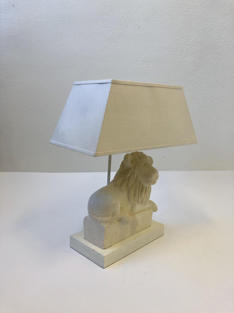 Lacquered Italian Ceramic Lion Table Lamp by Steve Chase For Sale