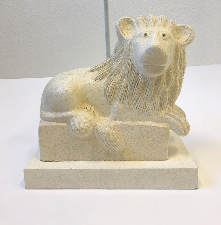 Late 20th Century Italian Ceramic Lion Table Lamp by Steve Chase For Sale