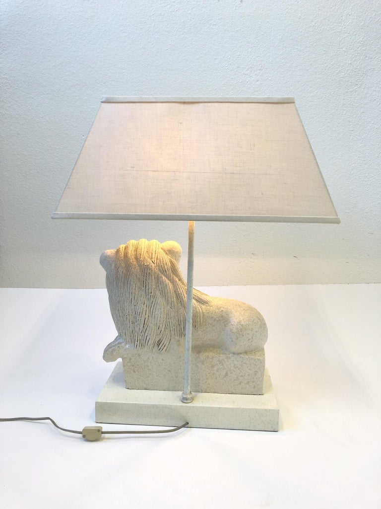 Italian Ceramic Lion Table Lamp by Steve Chase For Sale 2
