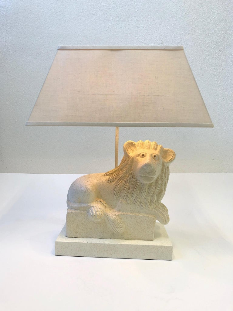 Italian Ceramic Lion Table Lamp by Steve Chase For Sale 3