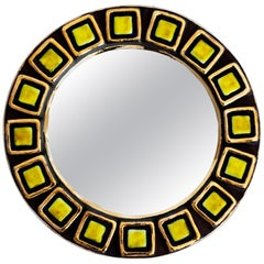 Italian Ceramic Mirror by Francois Lembo