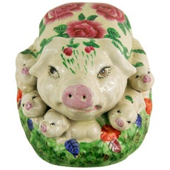Italian Ceramic Pig Sculpture with Seven Piglets