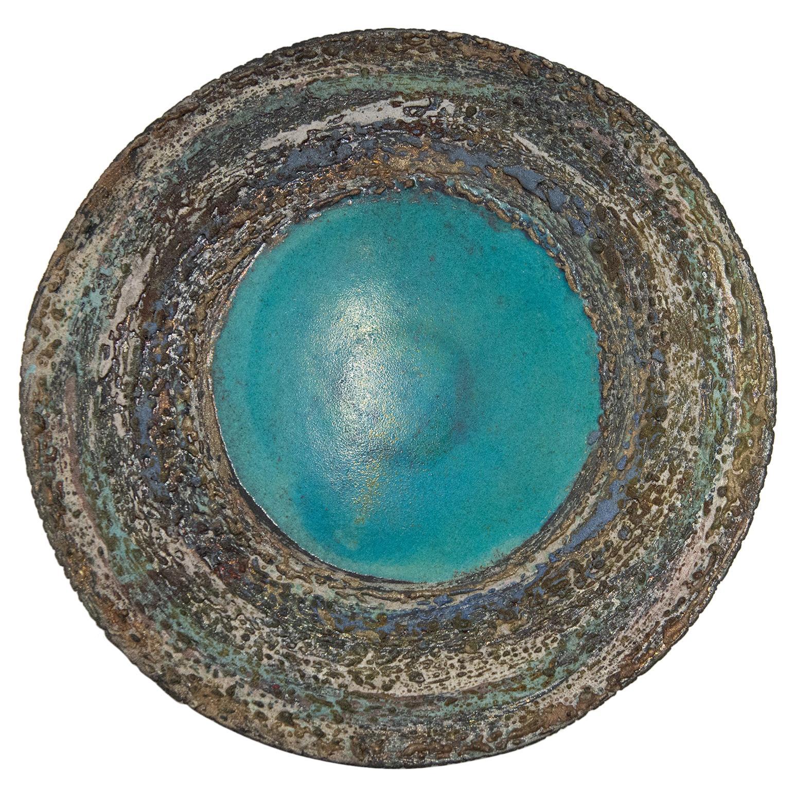 Italian Ceramic Raku Plate for Wall or Table