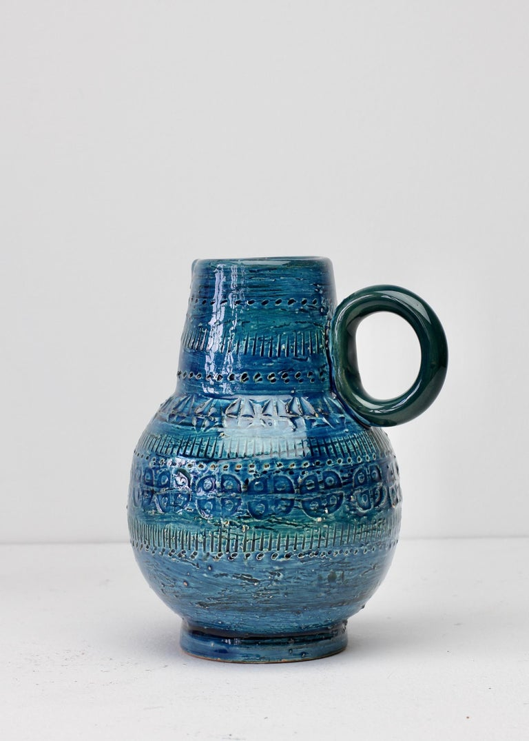 Italian Ceramic Rhimini Blue Vase by Aldo Londi for Bitossi, circa 1960s 4