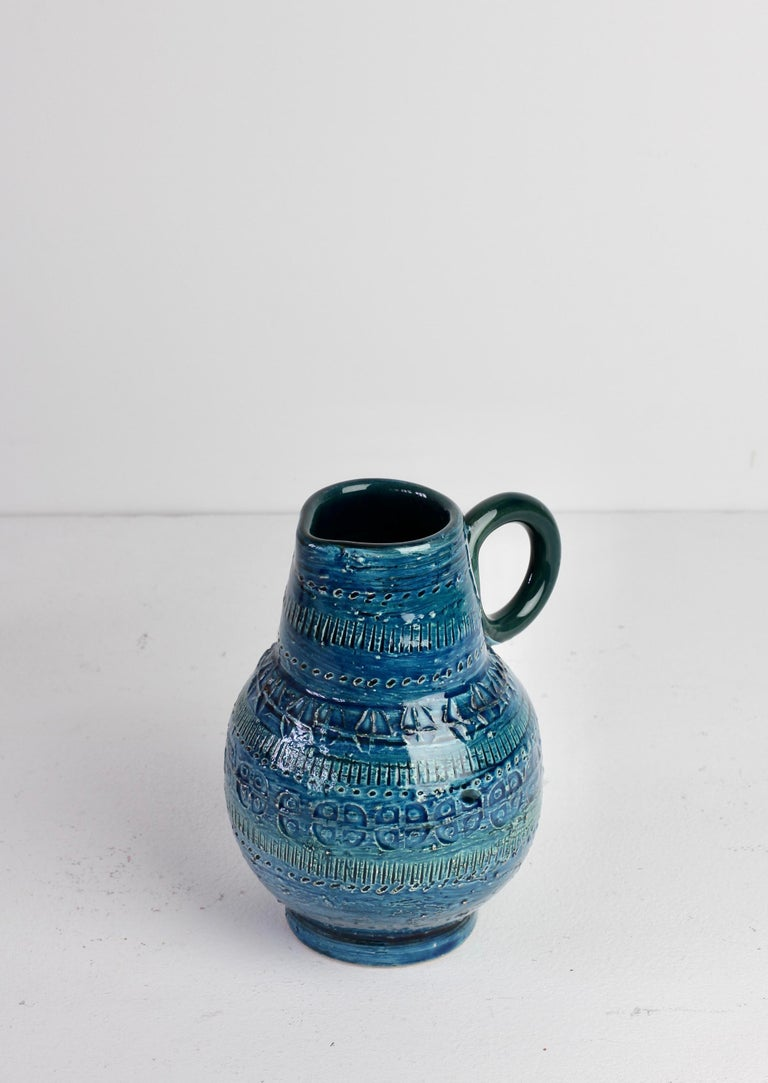 Italian Ceramic Rhimini Blue Vase by Aldo Londi for Bitossi, circa 1960s 5