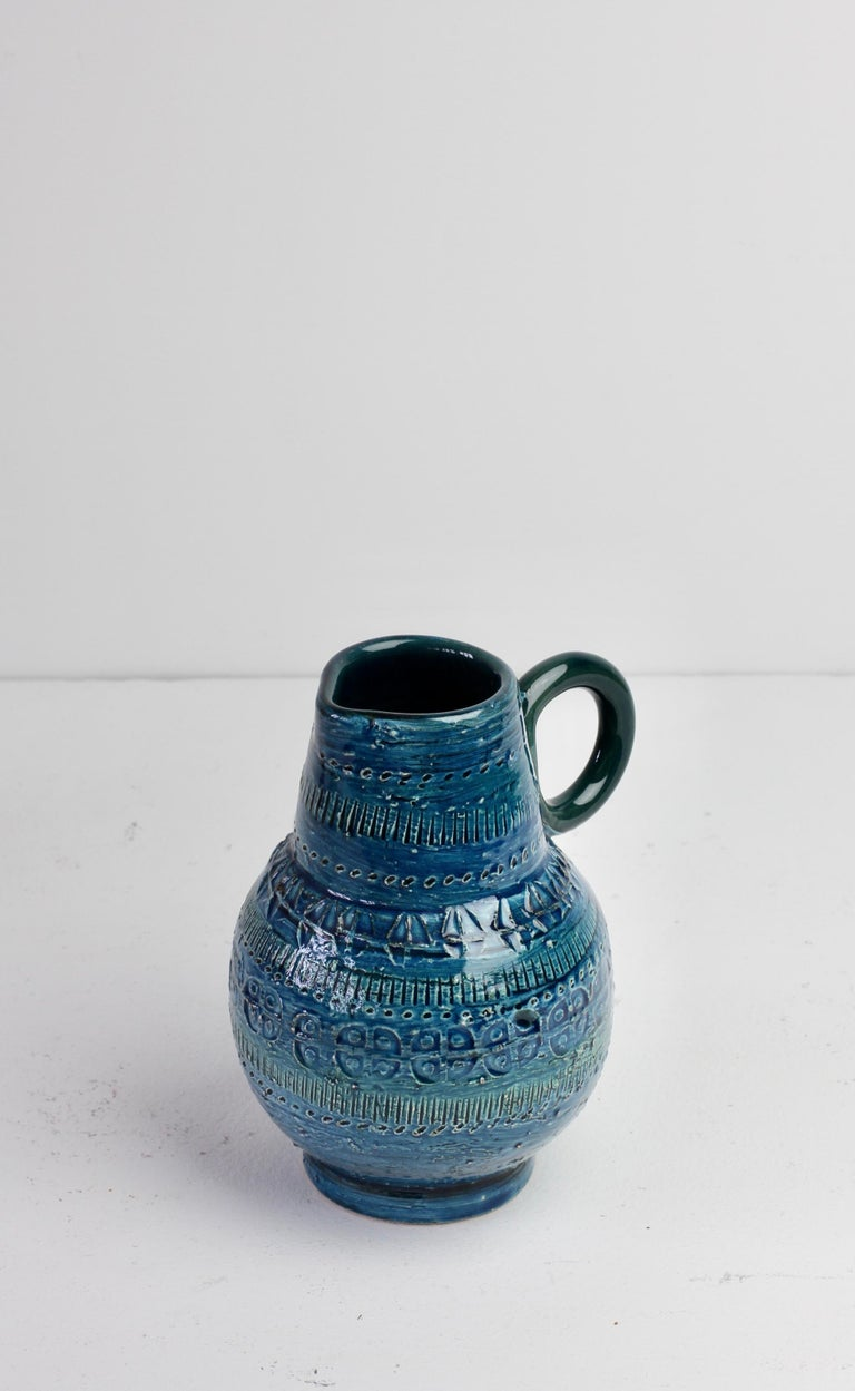 Italian Ceramic Rhimini Blue Vase by Aldo Londi for Bitossi, circa 1960s 6