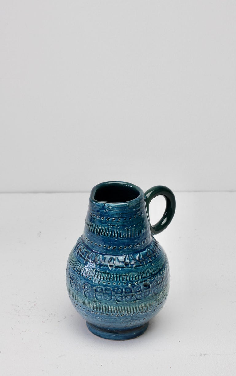 Italian Ceramic Rhimini Blue Vase by Aldo Londi for Bitossi, circa 1960s 7