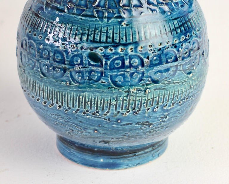 Italian Ceramic Rhimini Blue Vase by Aldo Londi for Bitossi, circa 1960s 11