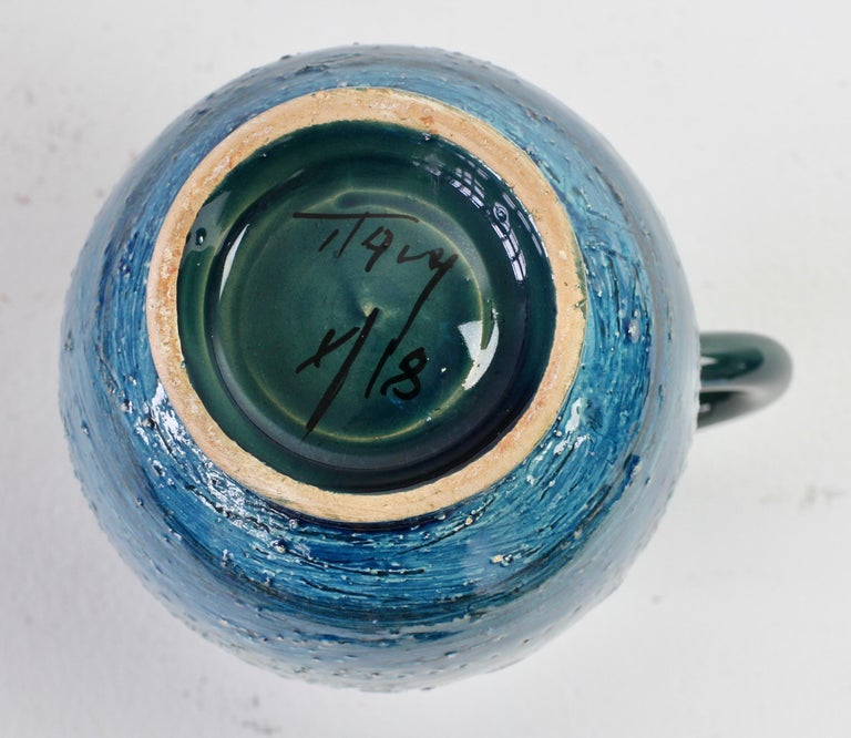 Italian Ceramic Rhimini Blue Vase by Aldo Londi for Bitossi, circa 1960s 12