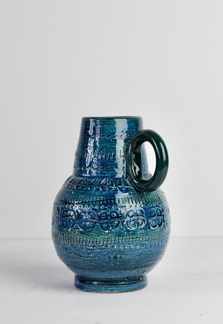 Italian Ceramic Rhimini Blue Vase by Aldo Londi for Bitossi, circa 1960s 1