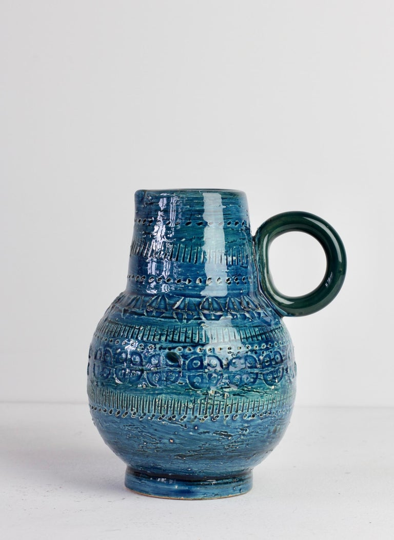 Italian Ceramic Rhimini Blue Vase by Aldo Londi for Bitossi, circa 1960s 2