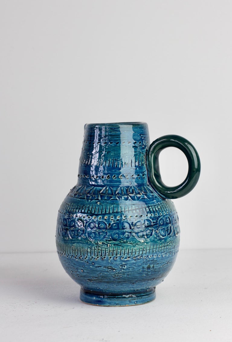 Italian Ceramic Rhimini Blue Vase by Aldo Londi for Bitossi, circa 1960s 3